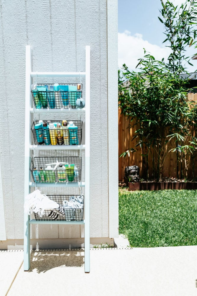 DIY ladder holding pool supplies