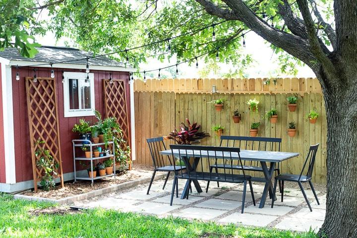 styled pea gravel patio