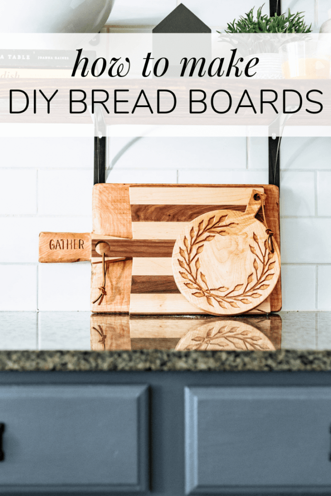"three wooden bread and cheese boards with text overlay - ""how to make diy bread boards"""