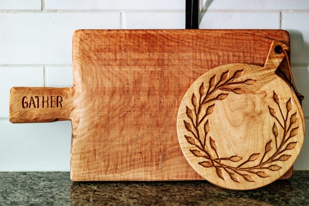 two DIY bread boards