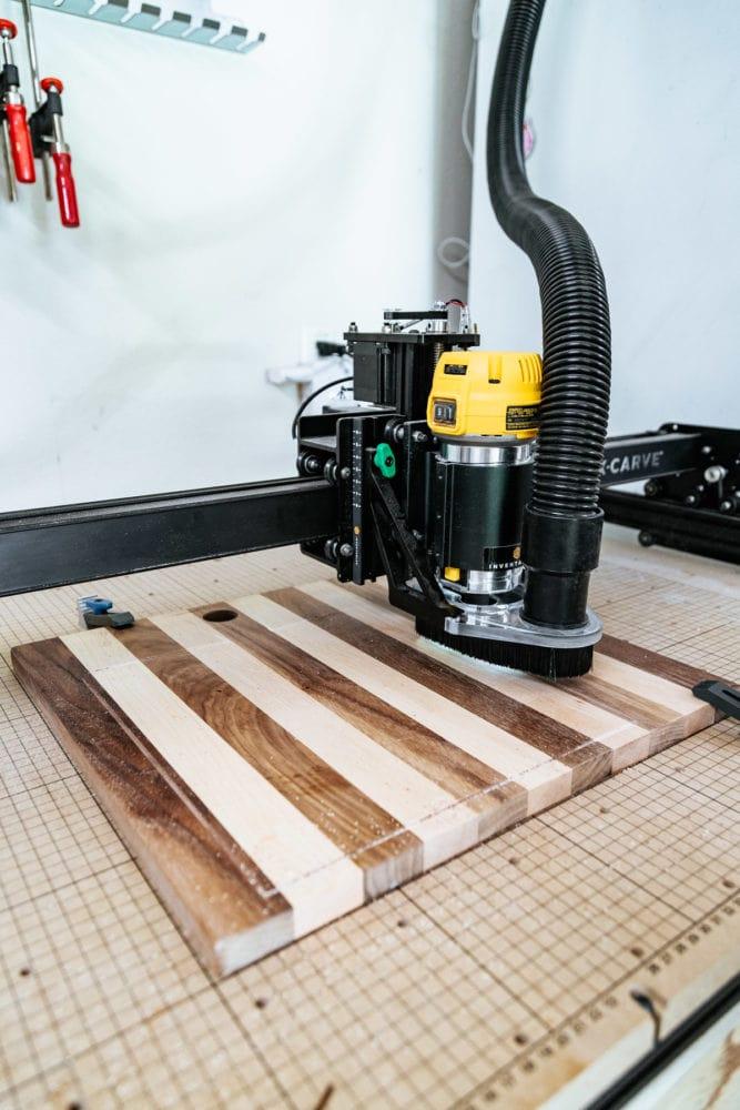 CNC machine cutting out bread boards