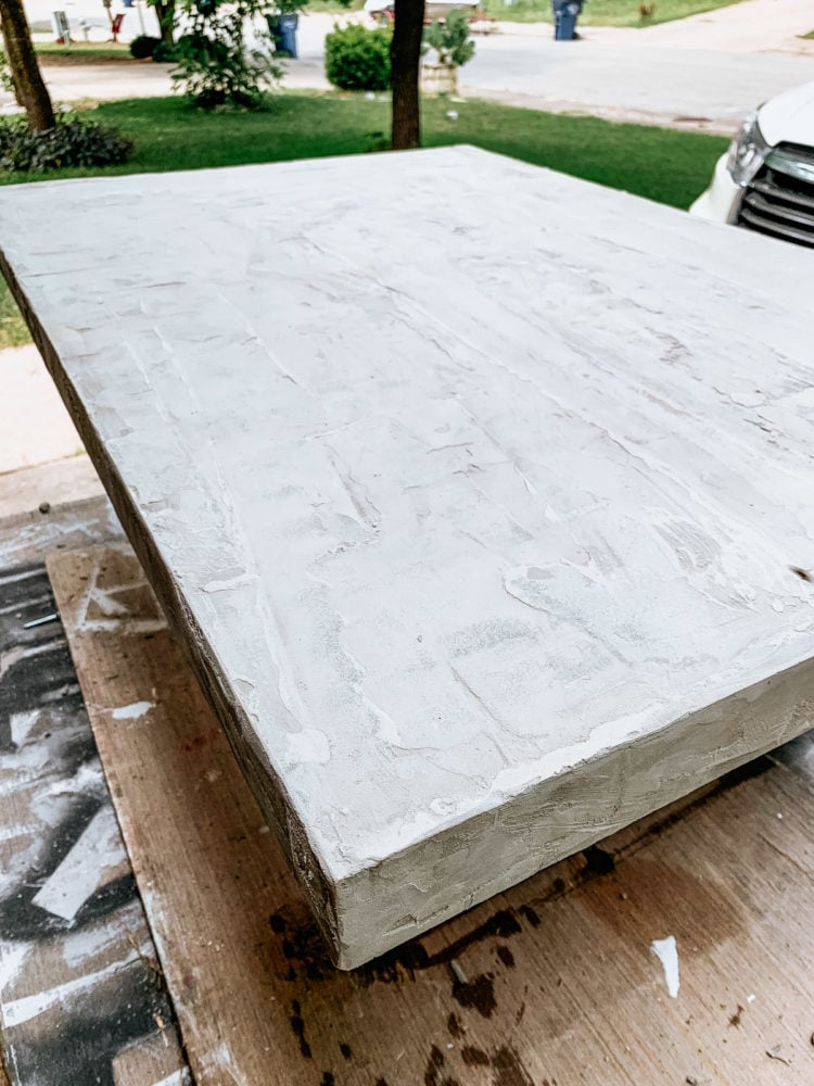 concrete table top with two layers applied