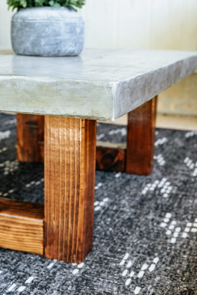 close up of DIY feather finish outdoor coffee table