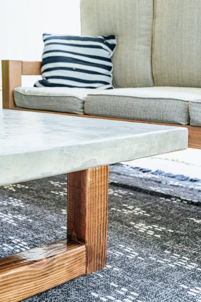 close up of DIY concrete coffee table