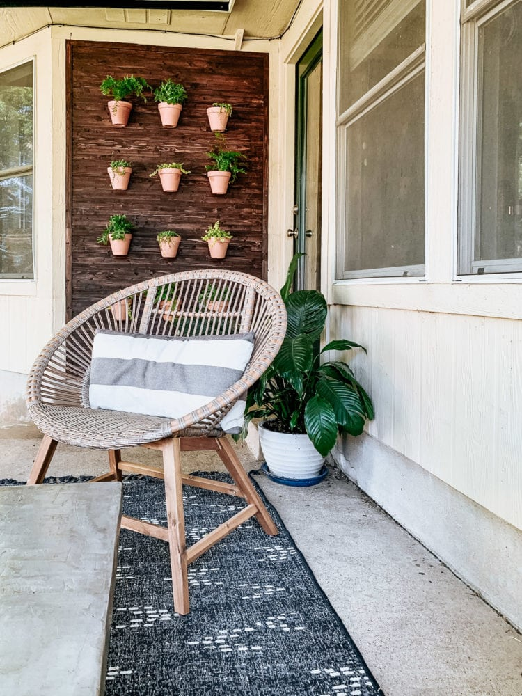 back porch with DIY living wall