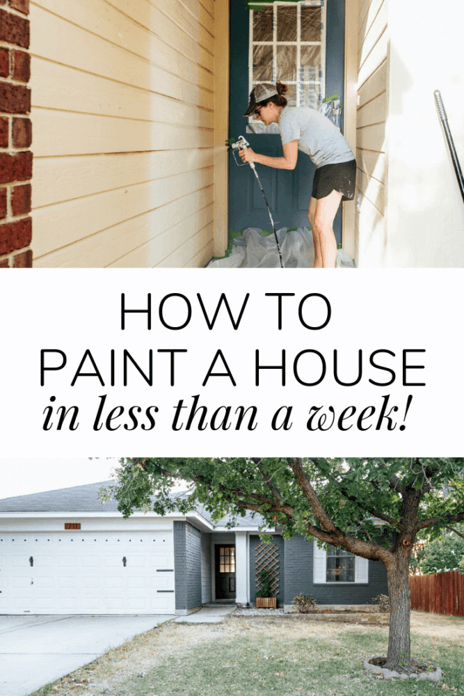 "collage of two images - a woman painting siding and a freshly painted blue brick house. Text overlay states ""how to paint a house in less than a week"""