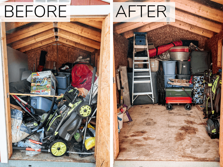 before and after of shed organization