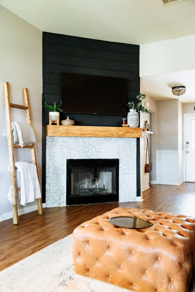 black shiplap fireplace