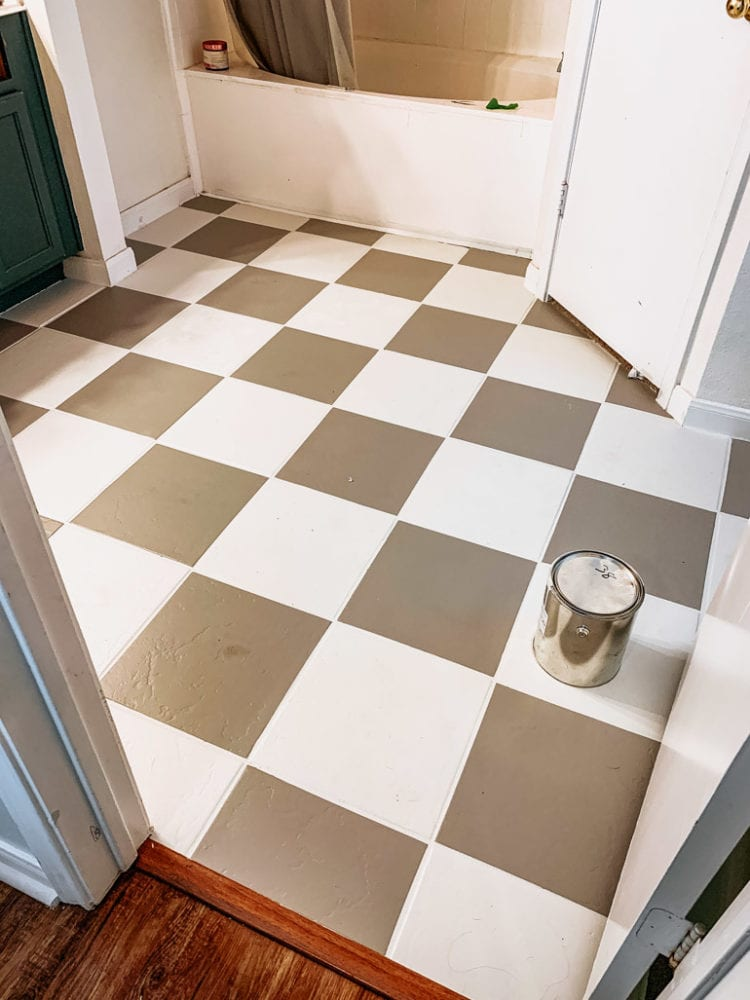 DIY painted checkerboard tile floor