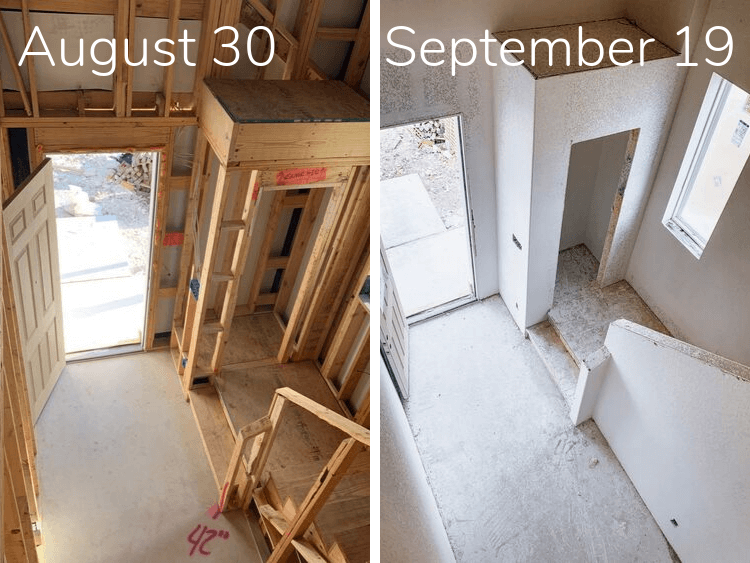 progress of a new construction home in three weeks