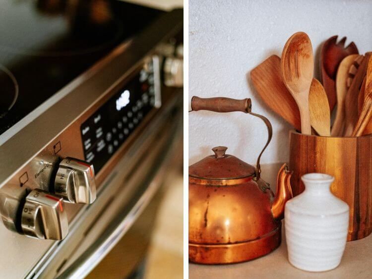 collage of two images. One is a close up of the Frigidaire gallery range and the other is a collection of wooden spoons and a copper kettle