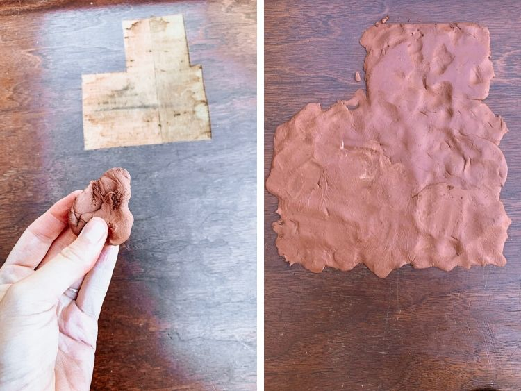 Collage of two images - one of a hand mixing up epoxy putty and the other of the epoxy putty spread out on the desk top