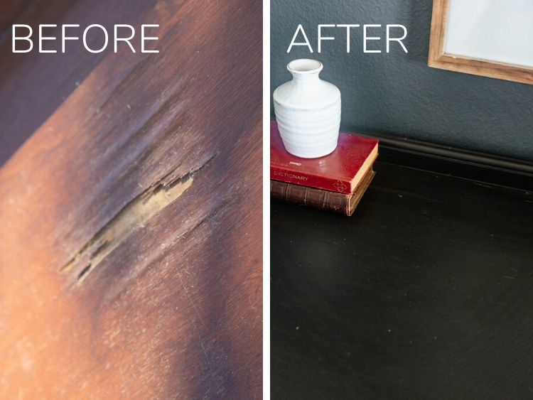 Before and after of damaged wood veneer