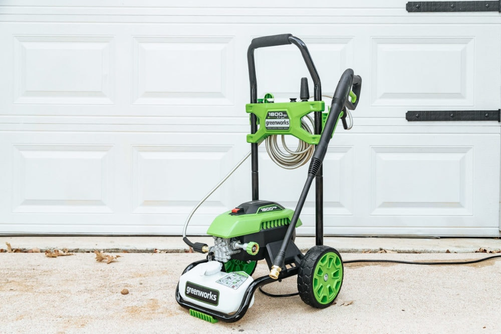 close up photo of a Greenworks pressure washer