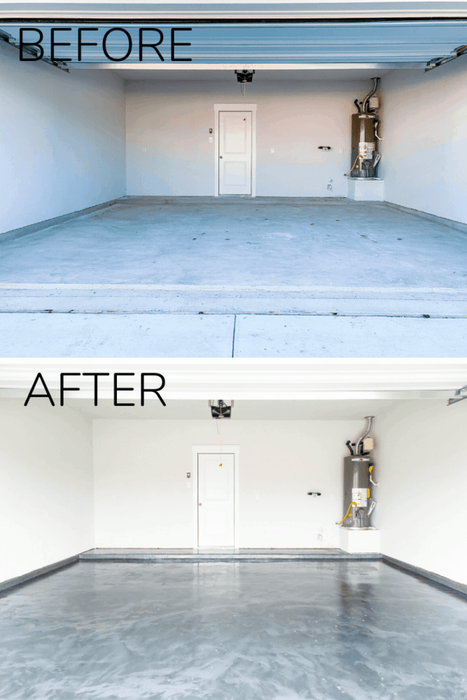 before and after of epoxy coated garage floor