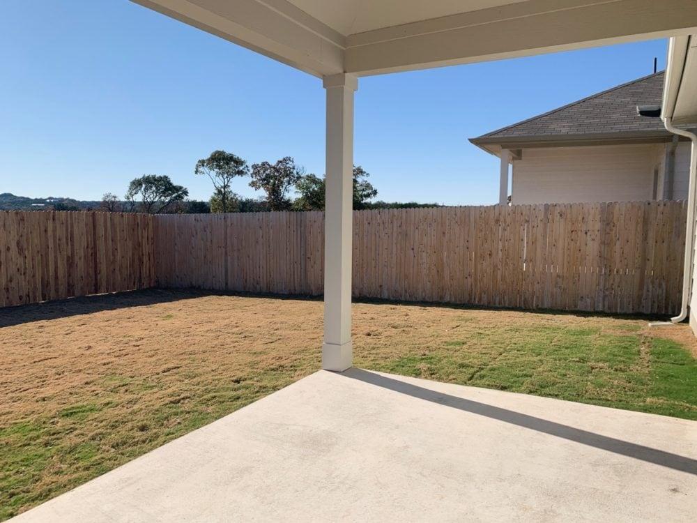 New home backyard