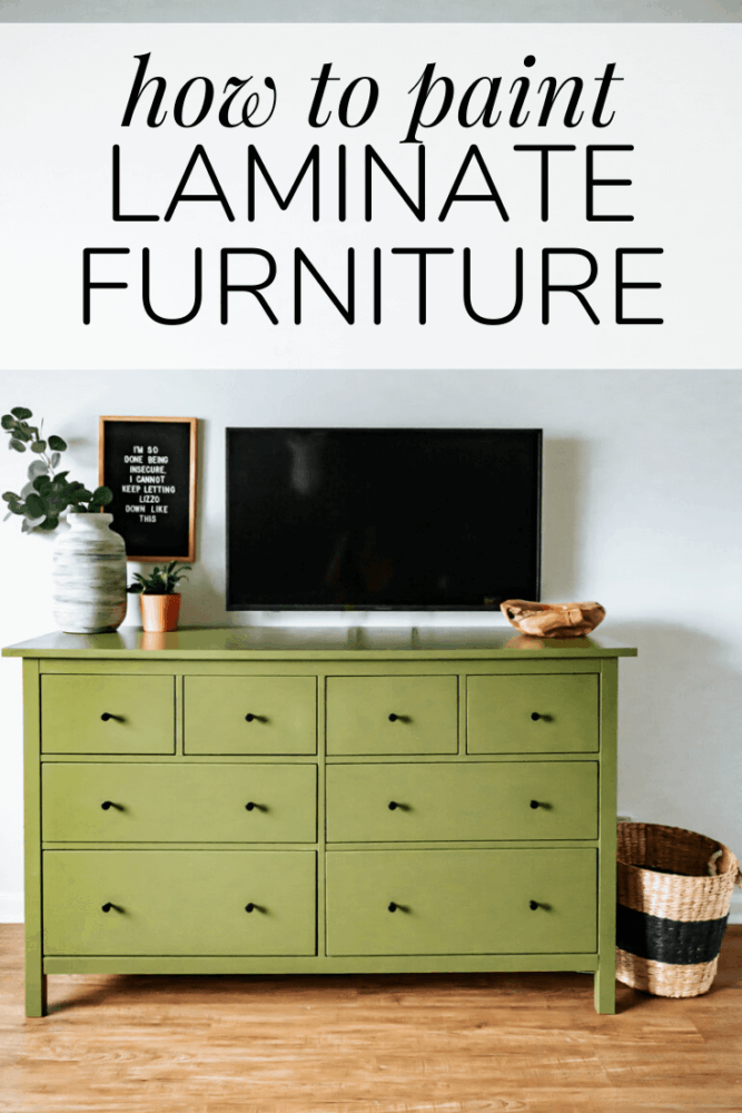 """a painted IKEA dresser with text overlay """"how to paint laminate furniture"""""""