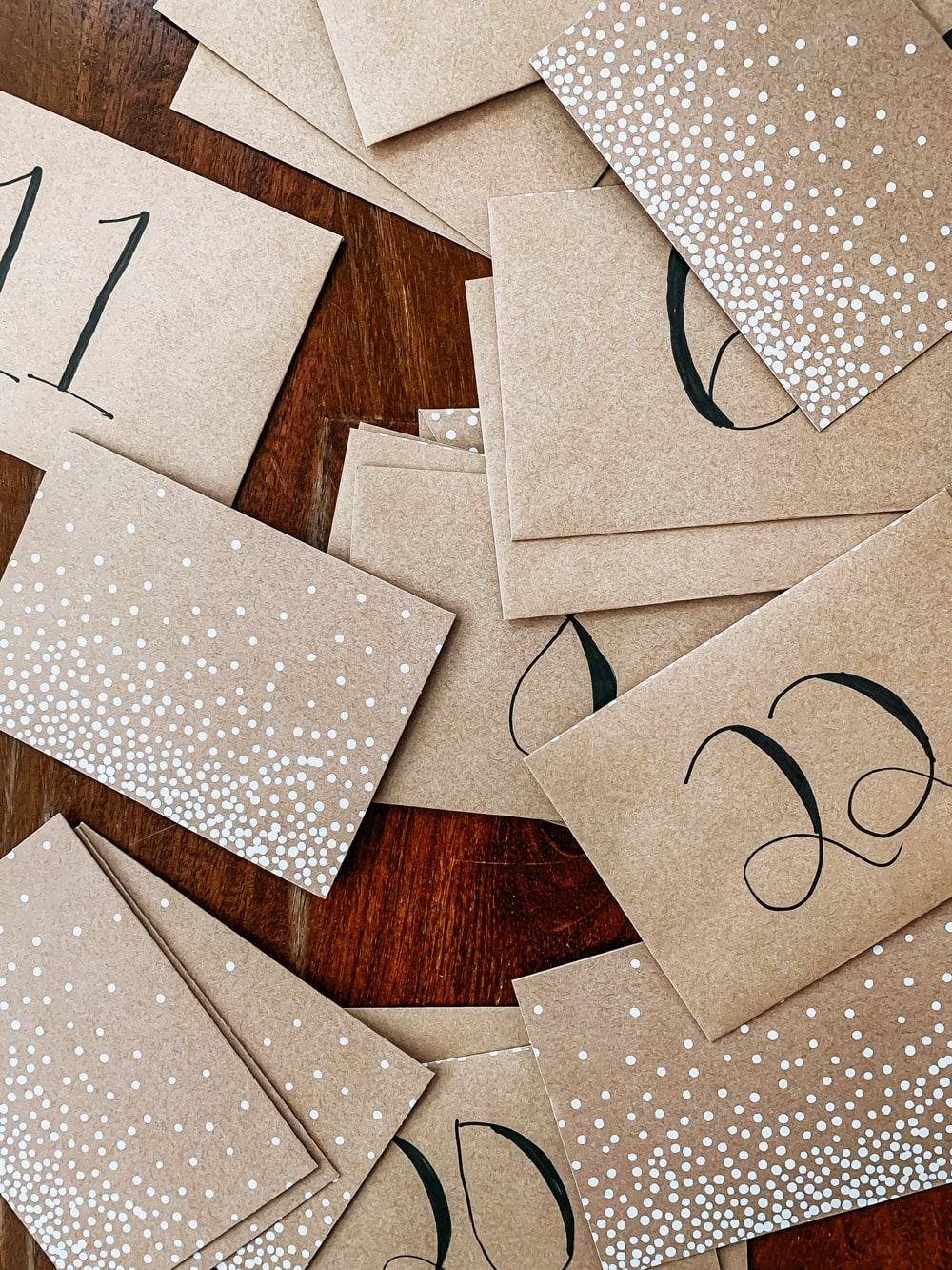 cards and envelopes for activity advent calendar