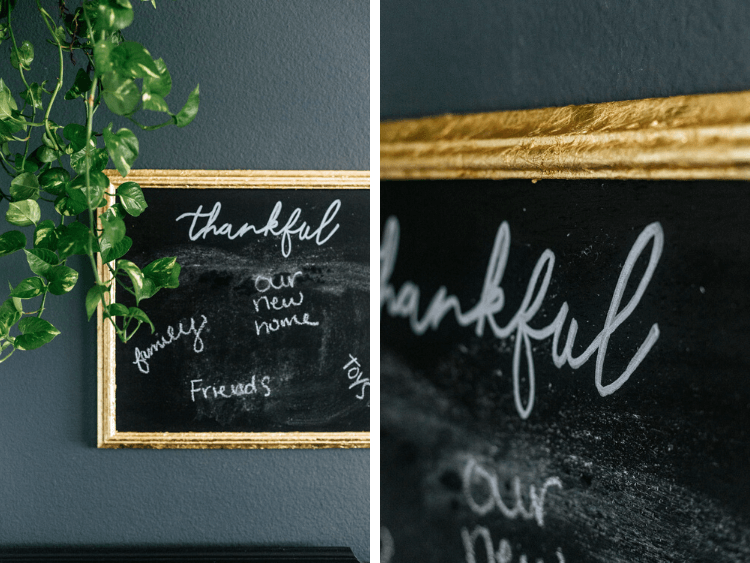 collage of close-ups of DIY chalkboard sign