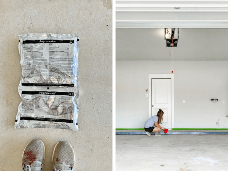collage of epoxy floor coating and woman applying it with a paintbrush