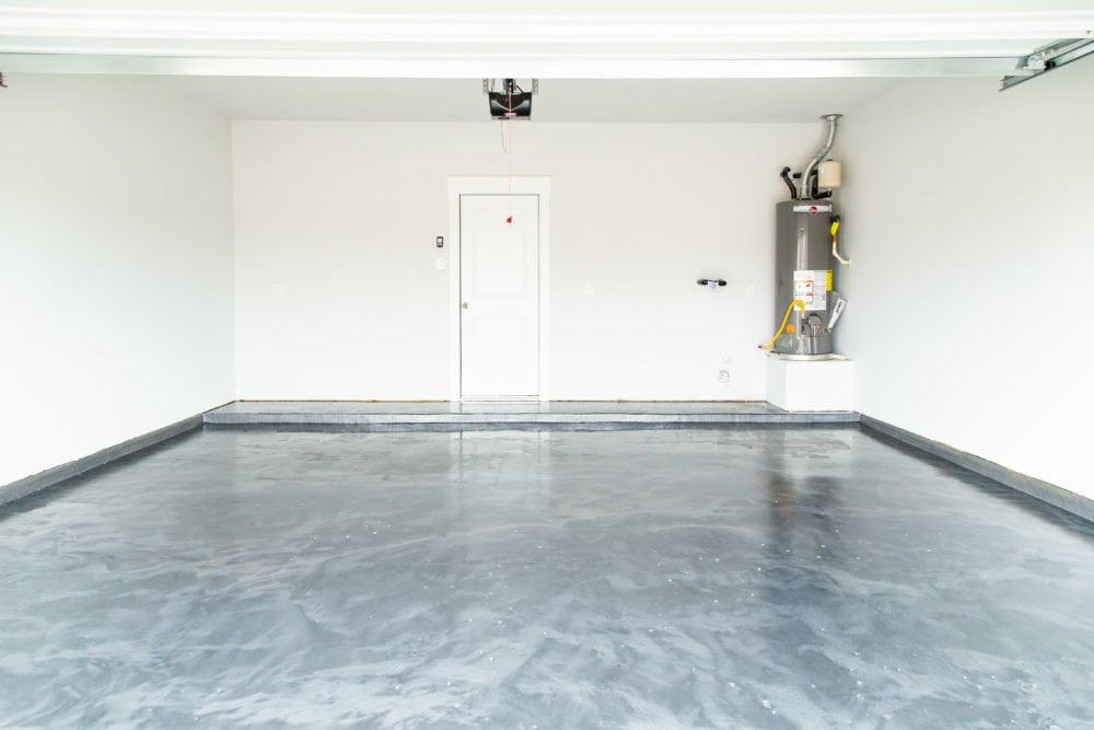 garage with epoxy floor coating