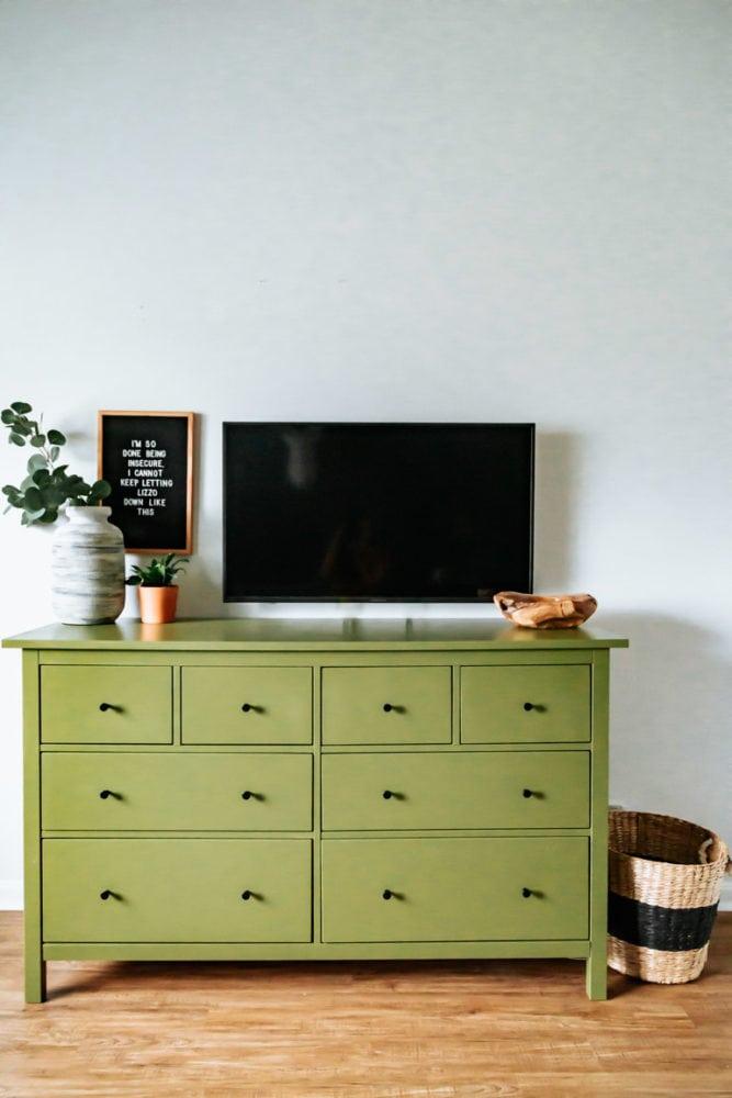 finished IKEA laminate dresser after paint