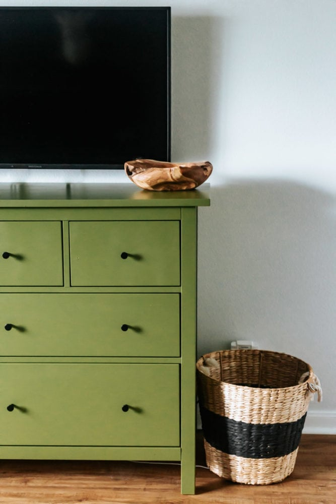 close up of painted IKEA dresser