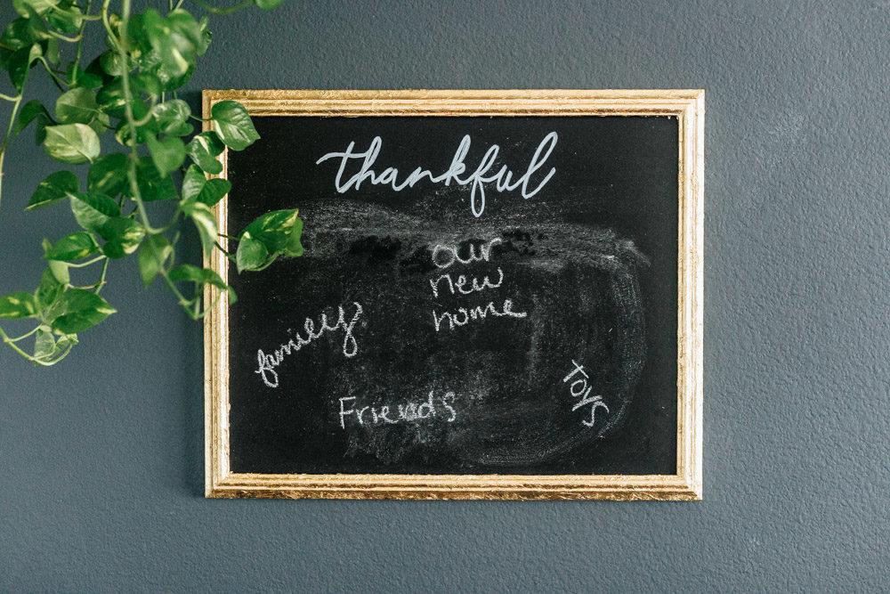 close up of DIY chalkboard sign