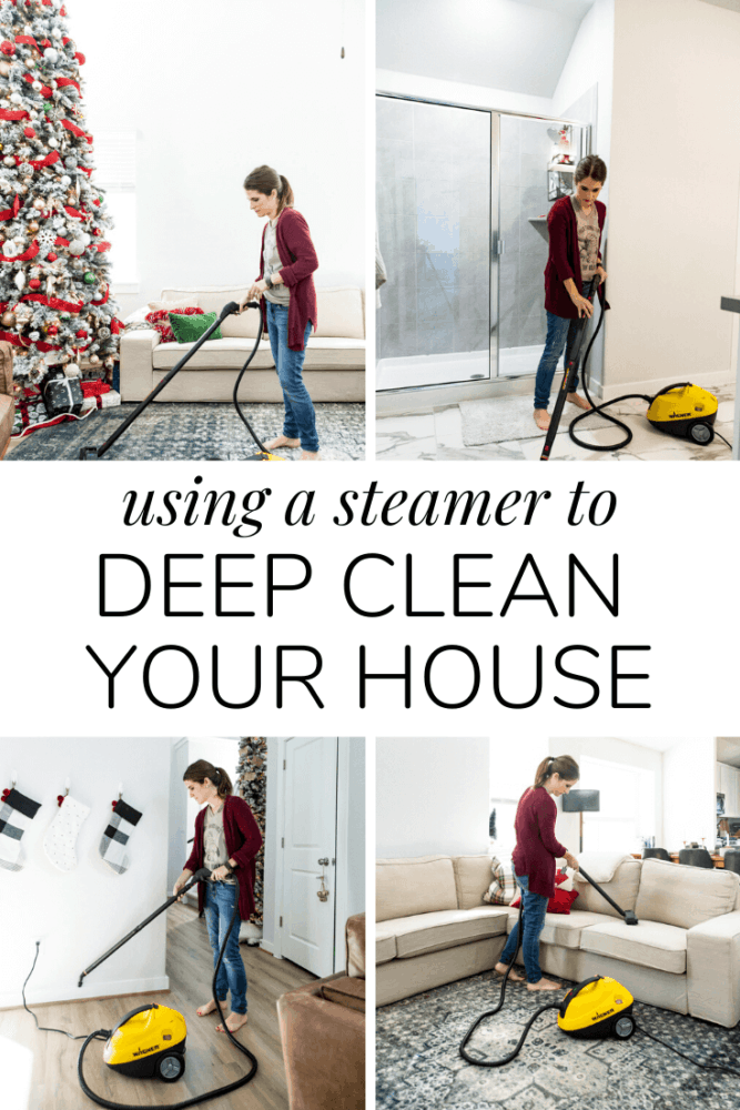 collage of woman cleaning with a power steamer