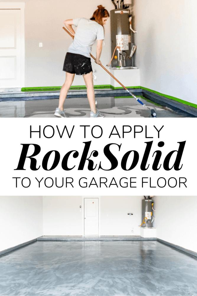collage of RockSolid garage floor coating