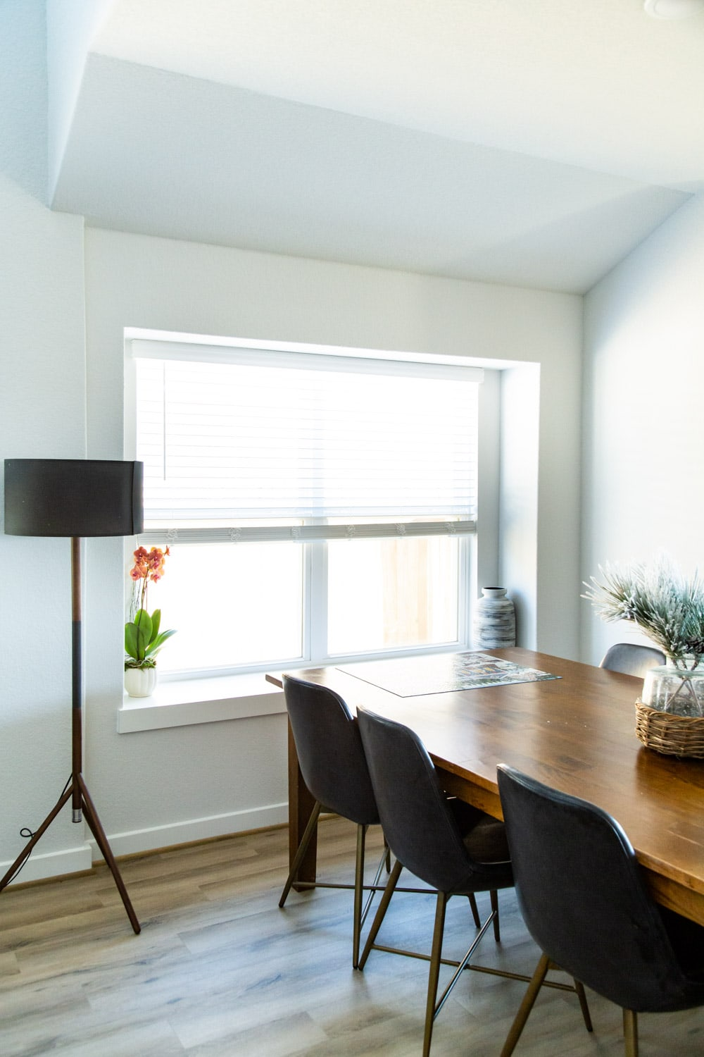 dining room with standing lamp