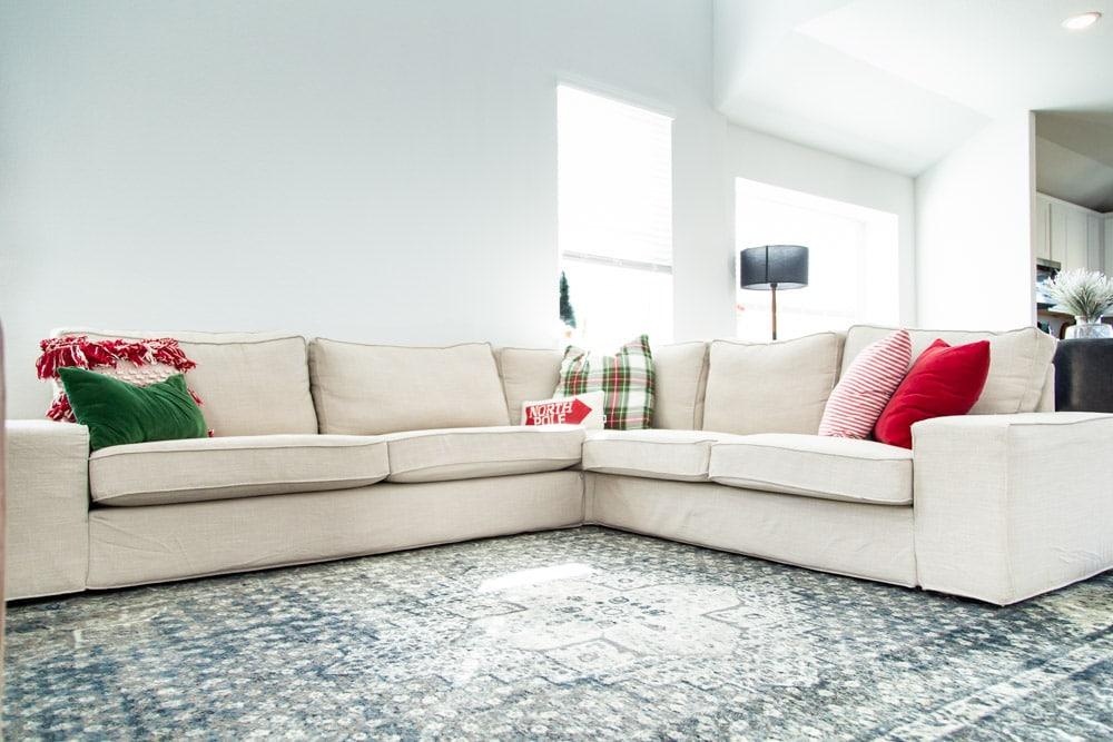 Close up of IKEA KIVIK sectional sofa