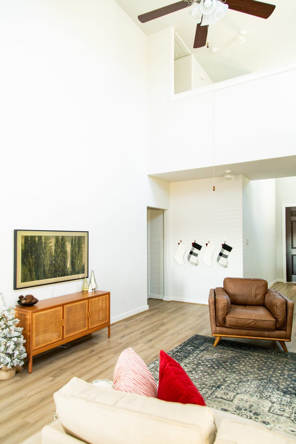 living room with the Frame TV