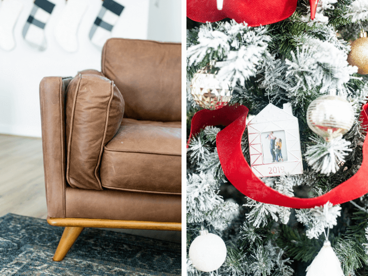 two images collaged - a close up of the Timber Charme leather chair and a close up of a Christmas tree