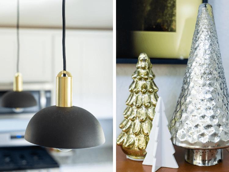 black pendant lights and Christmas tree decor