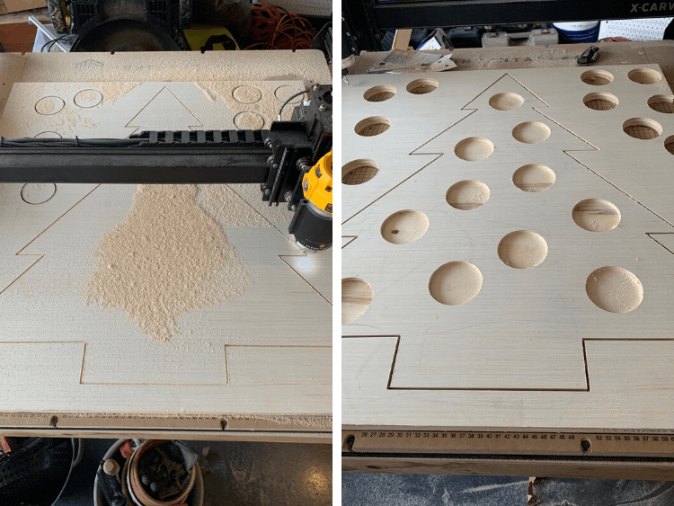 X-Carve machine cutting out a wood Christmas tre