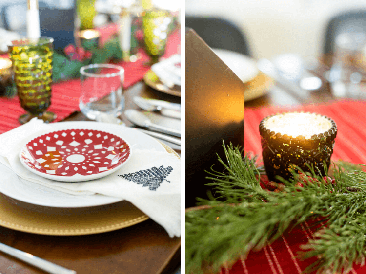 two close up images of a traditional table setting for Christmas