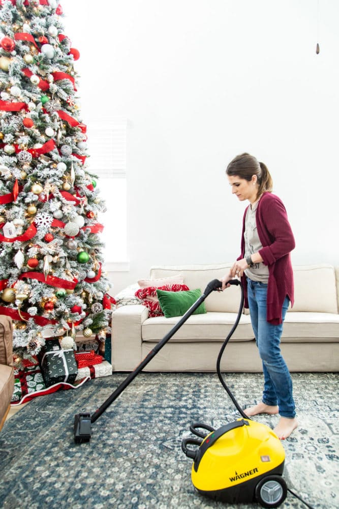 woman cleaning rug using a steamer