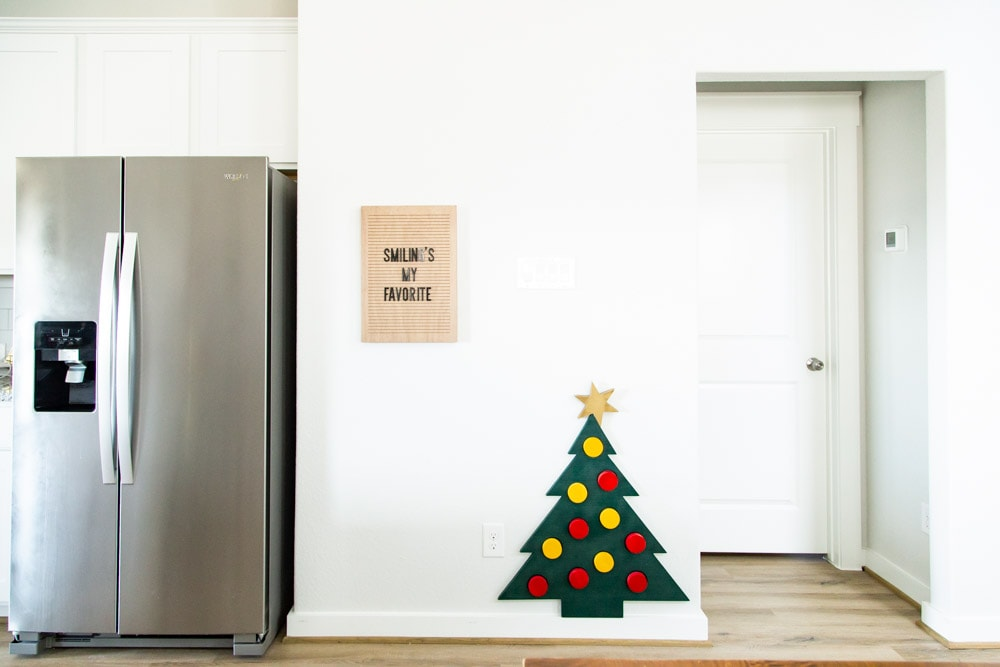 walkway with a DIY wood toy Christmas tree