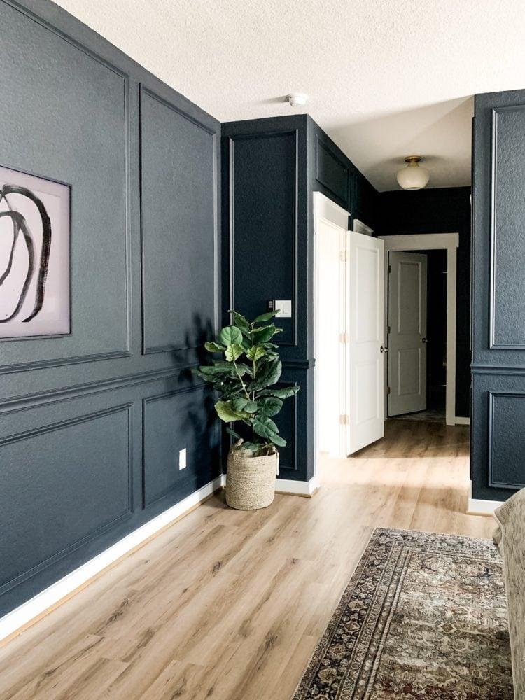 dark bedroom with new hall light