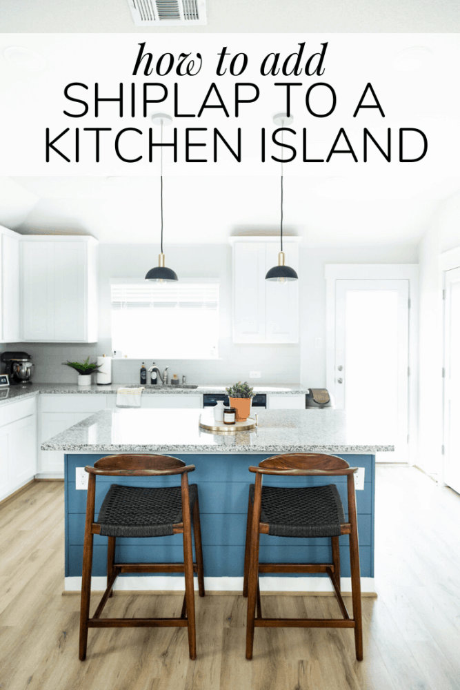 white kitchen with a blue island. Text overlay - how to add shiplap to a kitchen island