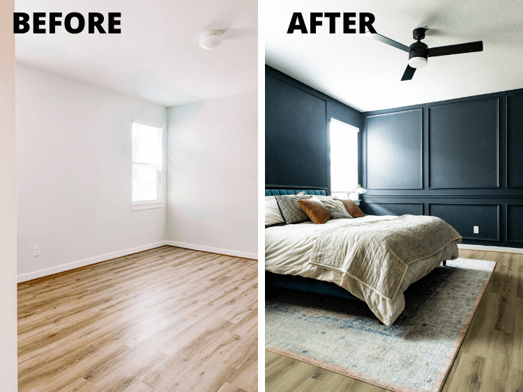 before and after DIY picture olding in master bedroom
