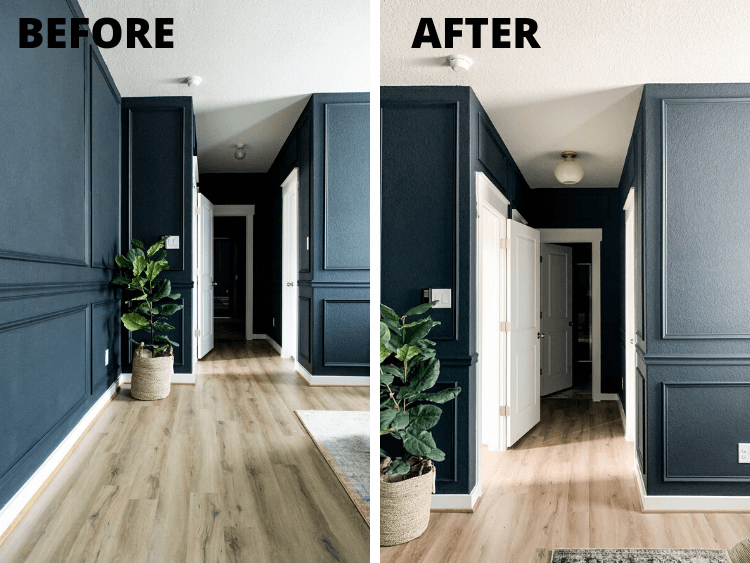 before and after of new hallway light
