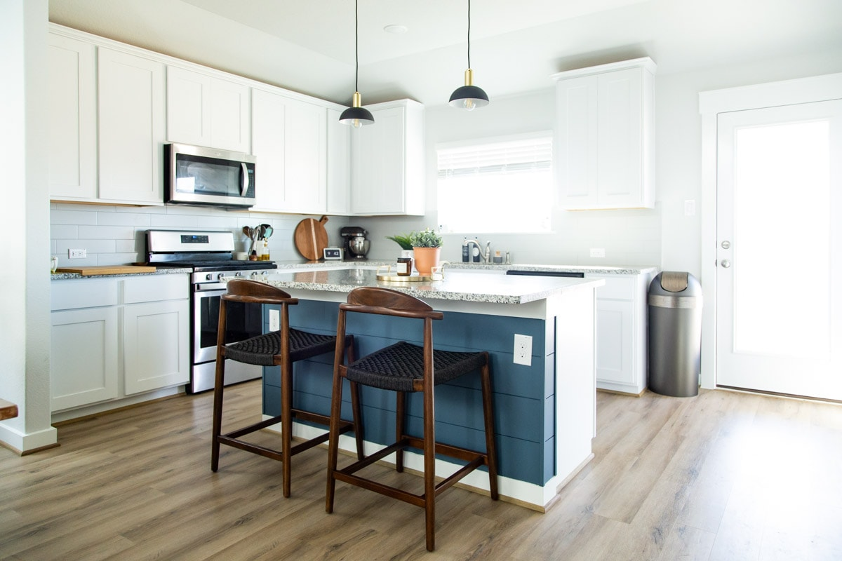 completed DIY shiplap kitchen island
