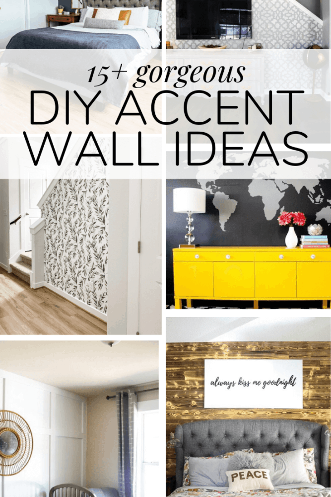 collage of different accent wall ideas