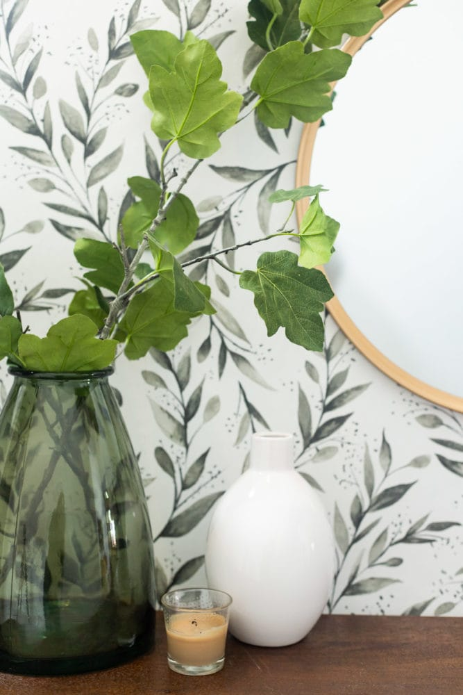 close up of faux florals in entryway