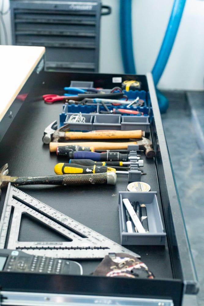 organized workbench drawers