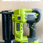 Ryobi nail gun with text overlay - how to use a nail gun