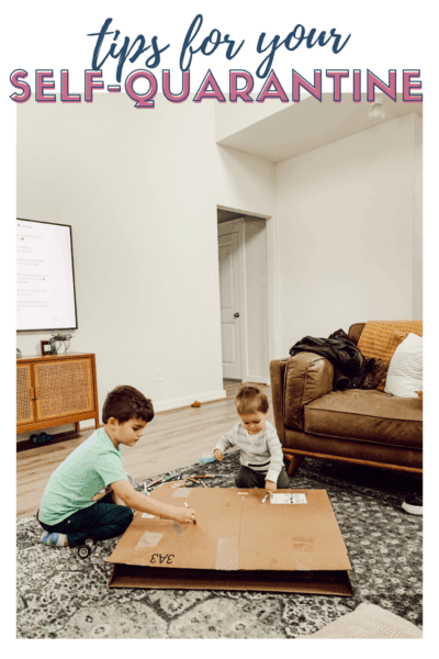 two young boys playing with text overlay - tips for your self-quarantine