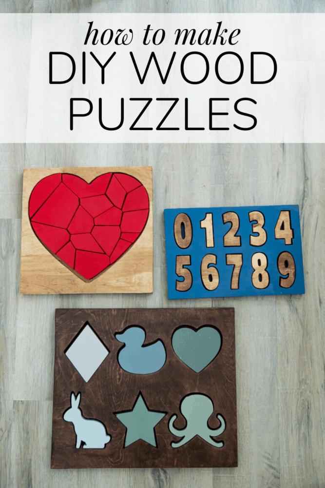 Three DIY wood board puzzles